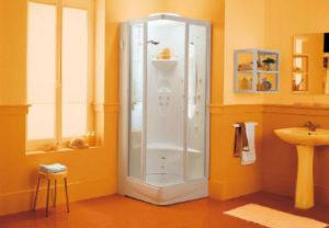 Установка душевой кабины в Миассе. Подбор материала под радиус угла в ванной и туалете. Монтаж стеллажей для бытовой химии.