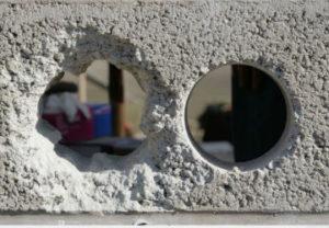 Разница алмазного бурения по отверстию в бетоне. Разница ощутима.